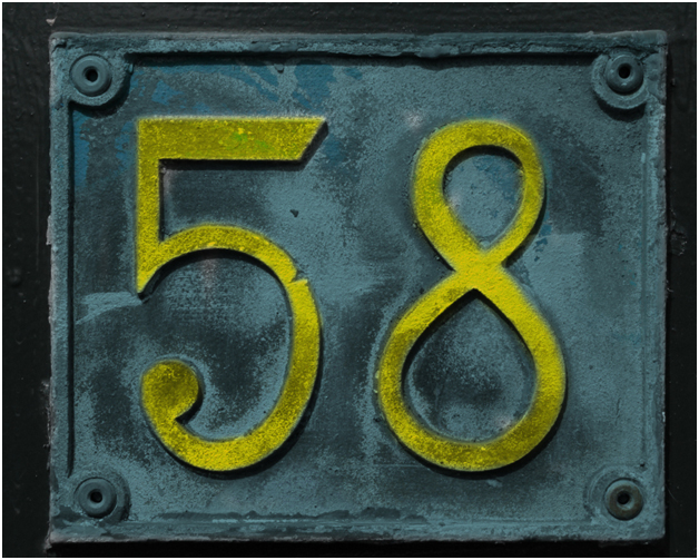 final image metal plate with colored digits 58 texture