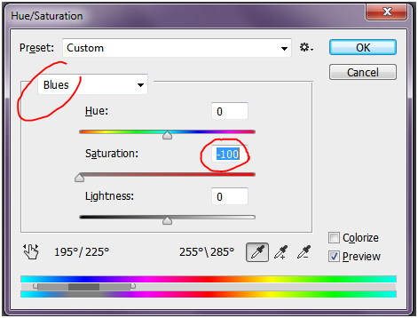 launch the hue saturation dialog in photoshop