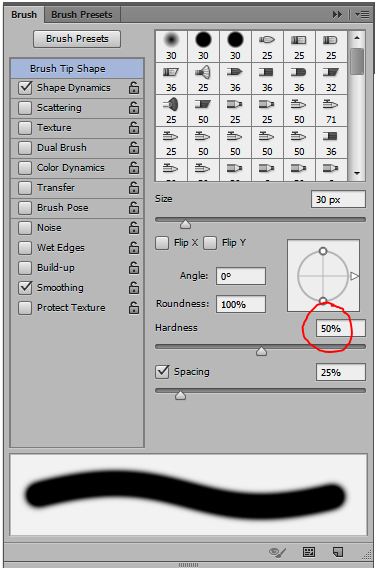 select brush tool with hardness 50 in photoshop