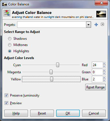 adjust color and highlights of the background picture for tutorial