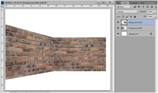 Perspective view with textures scene in photoshop