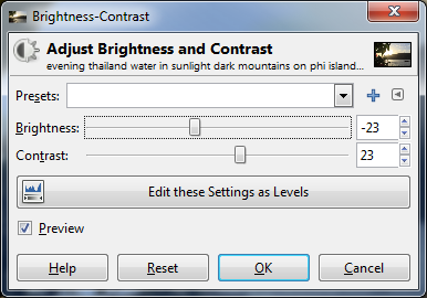 adjust contrast and brightness of the background picture for tutorial