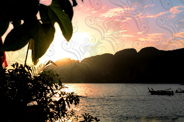 colorful sunset background with swirly transparent pattern overlay