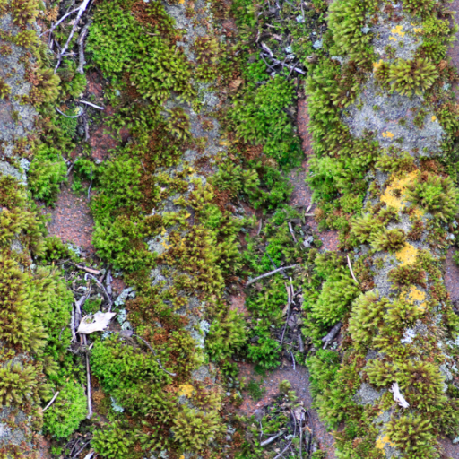 old tile mossy dirty roof green yellow small spots moss trunks dry brown grey colors huge small texture