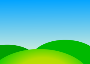 Simple Summer Cartoon Background With Blue Sky And Green